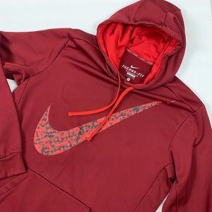 Men's Nike Therma Fit Burgandy Red Hoodie Pullover